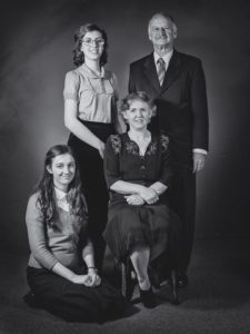Photo of Abby Matt as Anne Frank, Giverny Burke as Margot Frank, Dimity Eveleens as Edith Frank and Ian Robinson as Otto Frank